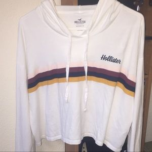 Cropped White Hoodie from Hollister